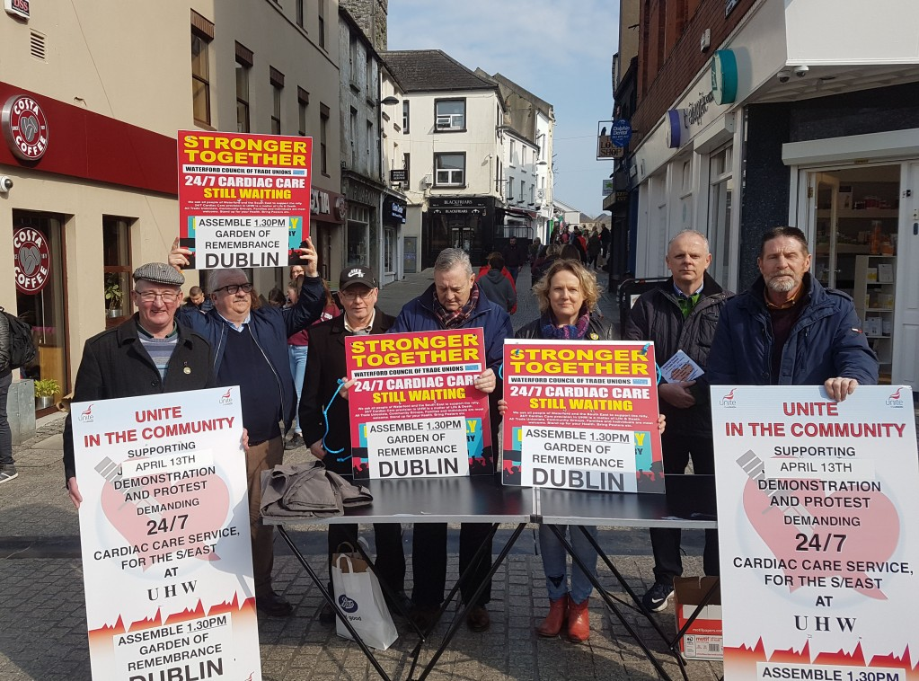 Trade Unionists in John Roberts Square canvassing support for this Saturday's cardiac care march in Dublin this Saturday. Transport will leave for the capital from the Forum at 10am. To contact organisers call 051-875438.							| Photo: John Power