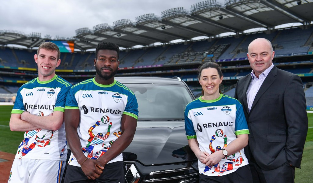 Wicklow footballer, Patrick O'Connor, Westmeath footballer Boidu Sayeh, Dublin footballer Lyndsey Davey with Kilmacud Crokes, and former Clare manager, Anthony Daly pictured at the Renault GAA World Games 2019 Launch at Croke Park in Dublin.