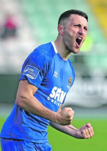Waterford FC's Shane Duggan celebrates his late goal which secured a point for the Blues.