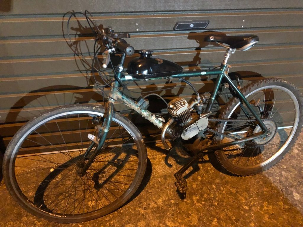 The 'contraption', with petrol engine attached, operated by a cyclist in Waterford city. The owner was described by Gardaí as traveling at a high speed and was arrested on suspicious of dangerous driving and drink driving.