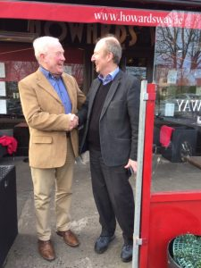 Shaking on it: Tramore Councillor, Joe Conway, exchanges a cordial handshake with Minister Shane Ross after their meeting in Dublin.