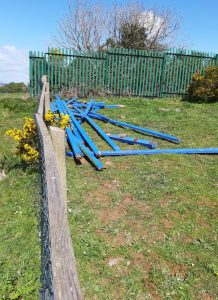 Some of the fencing which was stored on waste ground for later collection.