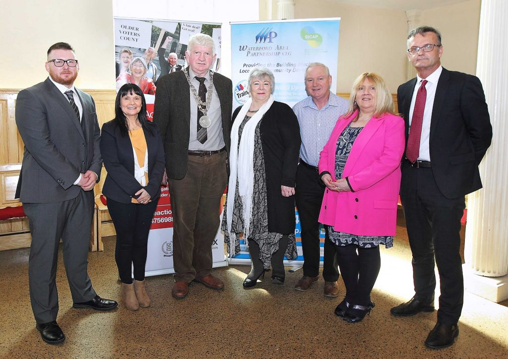 Mayor of Waterford City & County Council, Cllr.Declan Doocey pictured with Elaine Dunne, Chairperson, Ian Lennon, Care & Repair, Project Manager, Carol Fitzgerald, Noel Kelly and Mary McGuinness,  Age Action volunteers and Richie Grant, CEO, Waterford Area Partnership.  Photos: Noel Browne.