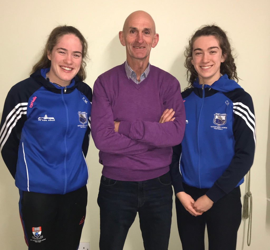 Waterford senior players Cora & Emma Murray pictured with their sponsor Cllr. Seanie Power.