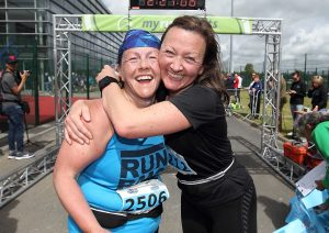 Tanya Schorman and Suki Grey pictured after they finished the Quarter WLR Waterford Viking Marathon at WIT Arena.
