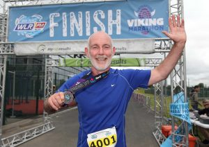 RTE's Ray Darcy pictured after finishing the Quarter Marathon at the WLR Waterford Viking Marathon in WIT Arena on Saturday last.