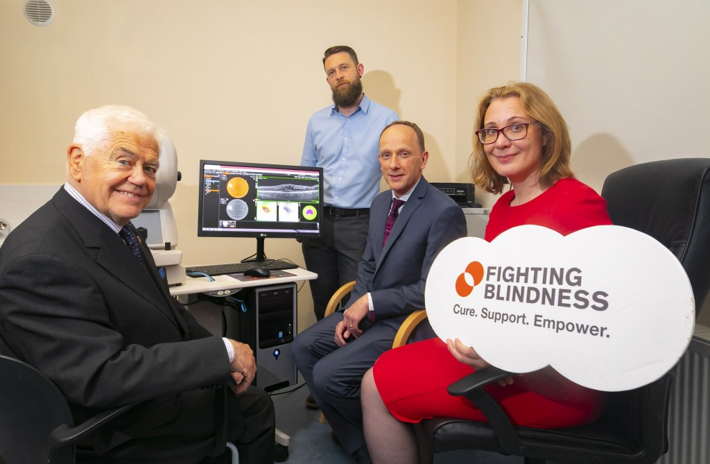Pictured at the launch of the €4 million Orbital research project are (l to r) John Leonard, Fighting Blindness member who is visually impaired and living with AMD; Dr Laurence Fitzhenry, WIT researcher and coordinator of the ORBITAL project; David Kent, consultant eye surgeon at the Vision Clinic in Kilkenny and Laura Brady, Head of Research, Fighting Blindness. Photo: Patrick Browne.