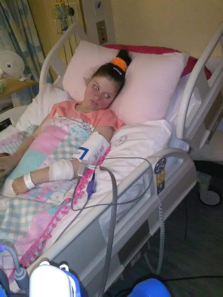 Cassandra Stephens before her treatment began. She suffered seizures several times daily over the past 27 years.