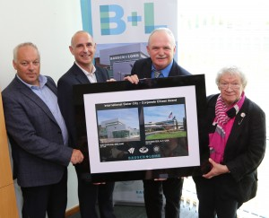 Pictured at the presentation were Tony Power, Bausch & Lomb, Mark Hennessy,  Site Leader, Bausch & Lomb, Waterford, Tom O'Connell, Chairman, Waterford-Rochester Sister City Committee and Carolee Conklin, Waterford -Rochester Sister City Committee.Photo: John Power