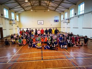 A group shot from a recent kids' blitz in the hall. The club coaches over 200 children and intends on entering mixed teams in the Under-14, Under-16 and Under-18 Leagues as the children currently at Primary School level progress. The club is also canvassing interest in establishing a women's senior team.