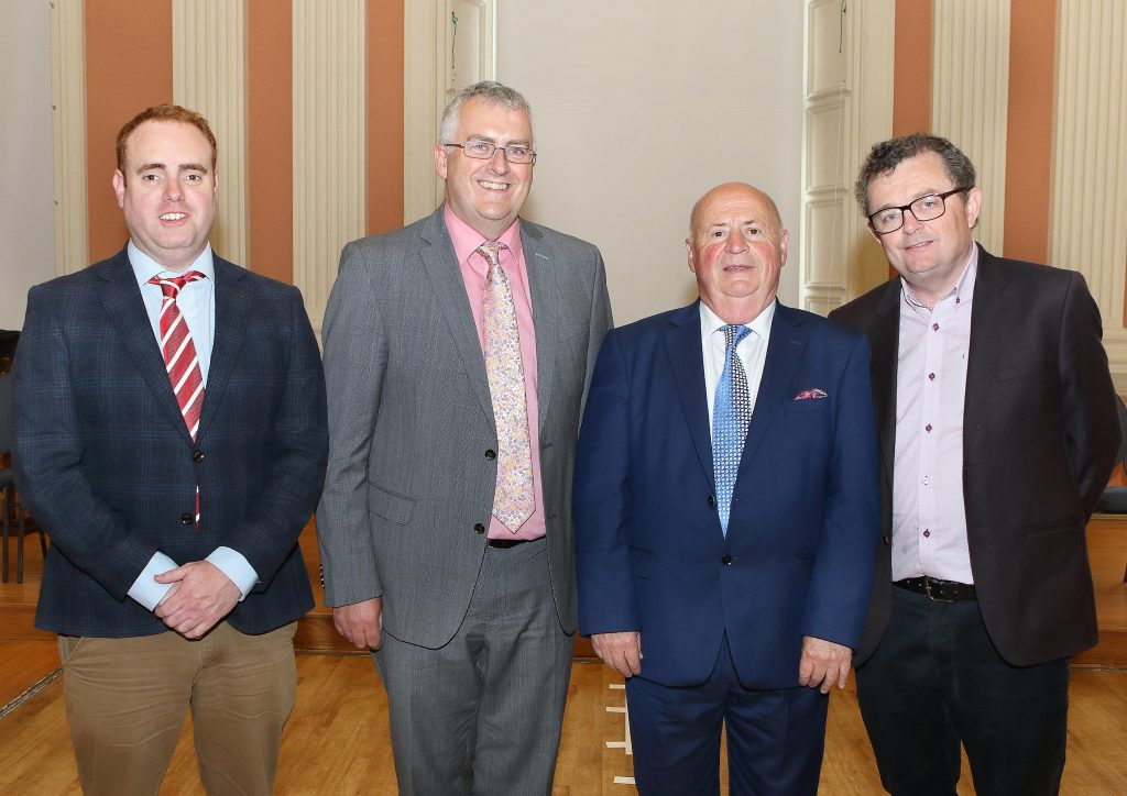 The newly elected Mayor of Waterford City & County Council, Cllr.John Pratt pictured with his Labour Party colleagues, Cllr. Thomas Phelan, Cllr.Ger Barron and Cllr.Seamus Ryan. Photo: Noel Browne.