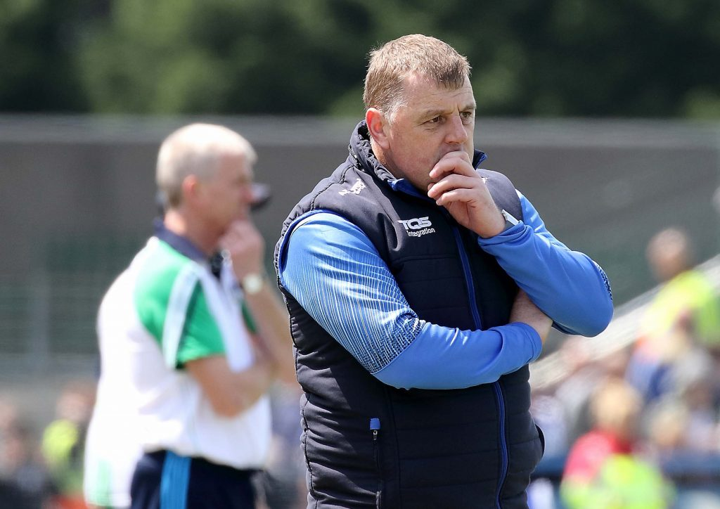 Paraic Fanning patrolling the sideline during Sunday's Munster SHC defeat to Limerick at Walsh Park. | Photos: Noel Browne
