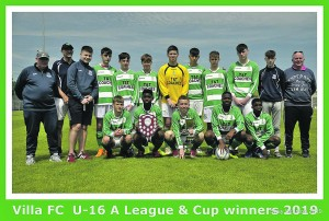 Villa U16 'A' league and cup winners  Photos: Shay Searson