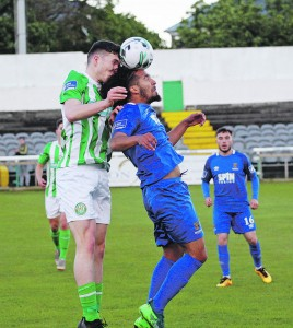 Bastien Hery in an aerial battle against Bray last Monday.