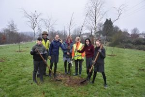 Students from St Declan's Community College Kyra Reilly, Kelvin Kiely, Casey Mullhearne and Heather Ridgard pictured planting apple trees with Acting Principal Elaine Murray and Pierce Casey and Margaret Whelan of Kilmacthomas Tidy Towns.