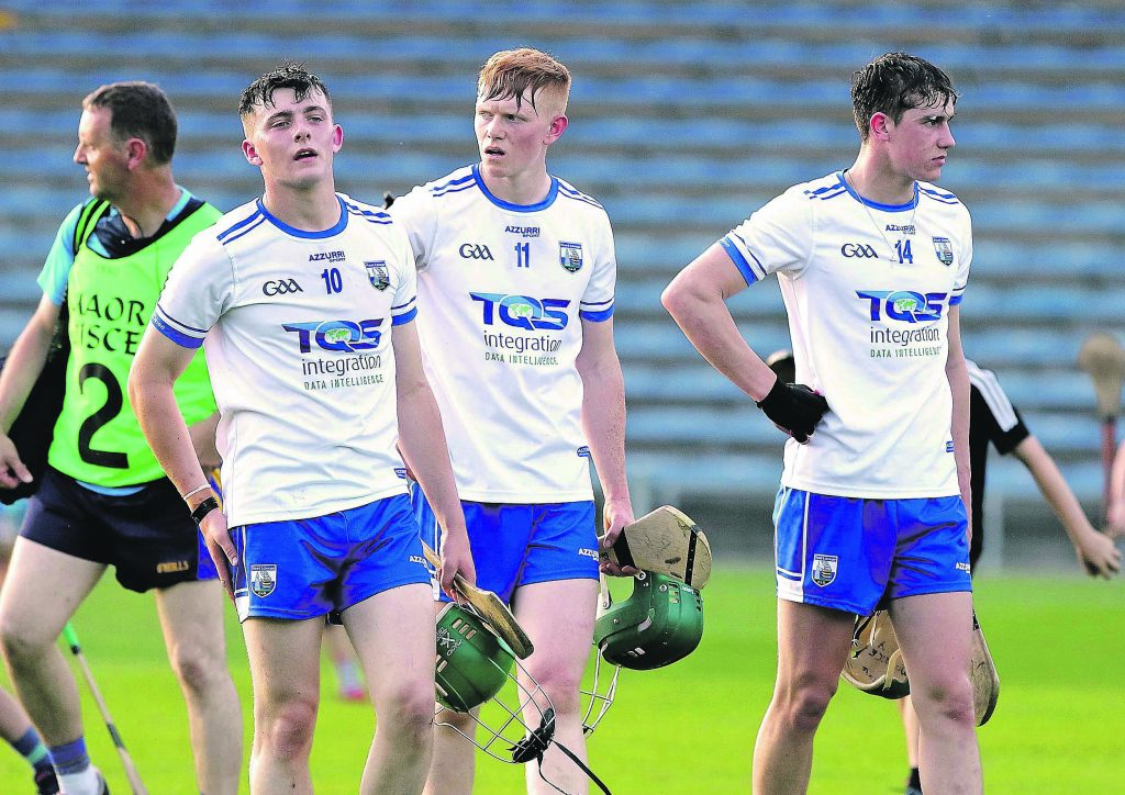 Waterford's Tom Barron, Ian Beecher and Michael Kiely trudge off at the end of the U20 hurling defeat to Tipperary in Semple Stadium. Photo by Noel Browne