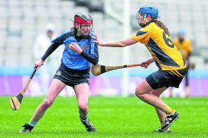 Gailltir's Patricia Jackman in action for Gailltír against Fionnuala Carr of Clonduff in the All-Ireland Intermediate Camogie Club Championship final in Croke Park in March.