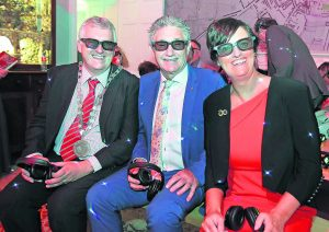 Minister of State John Halligan pictured with the Mayor of Waterford City & County Council, Cllr.John Pratt and Jenny De Saulles, Head of Ireland's Ancient East with Fáilte Ireland, enjoying the new 4D installations at Bishop's Palace.