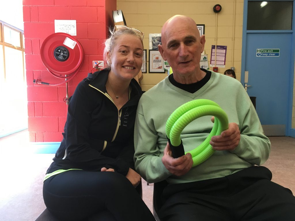 Michael Power (holding Smovey rings) pictured with his daughter Caroline.
