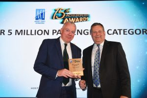 Pictured are Cork Airport Managing Director Niall MacCarthy and Peter Hotham, Deputy Executive Director at SESAR Joint Undertaking as Cork Airport is named Best Airport in Europe serving under five million at the ACI EUROPE Annual Assembly & Congress.