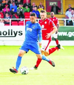 Shane Duggan starts another Blues attack against Sligo Rovers last Saturday