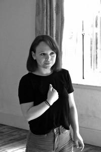 Anne O'Riordan in rehearsal for Ghosting.