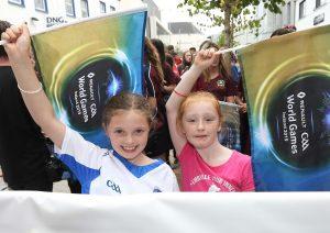 Romey Carroll and Abbie Ryan enjoying the GAA World Games Parade. Photo: Noel Browne.