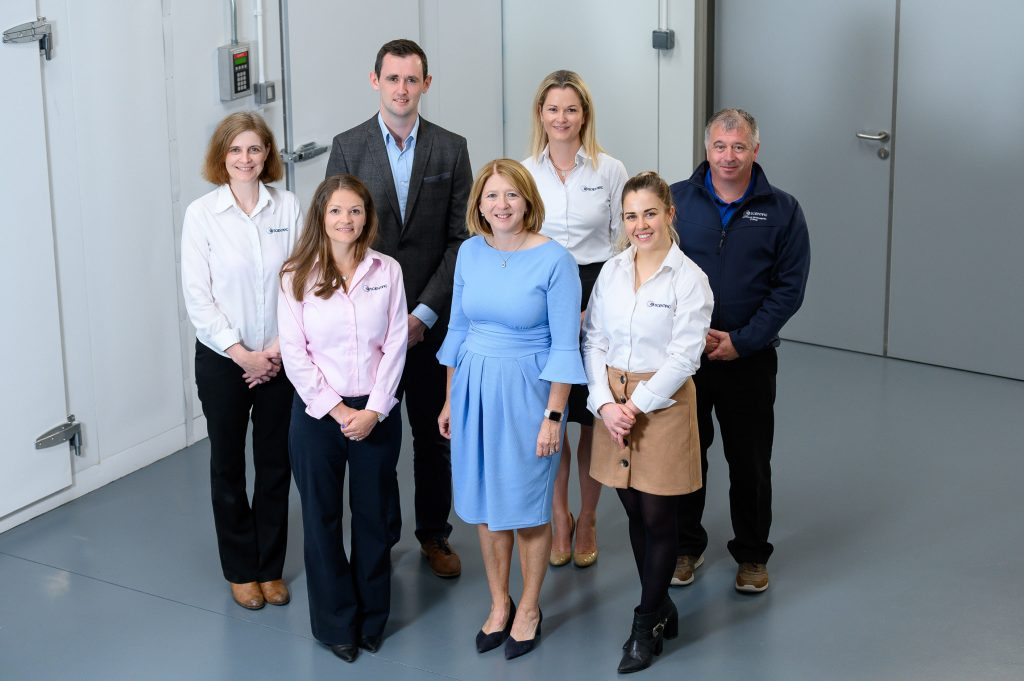Pictured at Q1 Scientific are some of the team members including Marie Morrissey, Catherine O'Brien, Linda Sweeney, Michelle Murphy, Derek Grubb, CEO Stephen Delaney and Chair Louise Grubb.