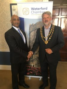 Waterford Chamber President Jonathan Earl with Indian Ambassador to Ireland H.E. Mr Sandeep Kumar.