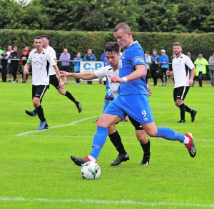 Michael O'Connor in control for the Blues against Maynooth at Rathcoffey Road on Sunday last.