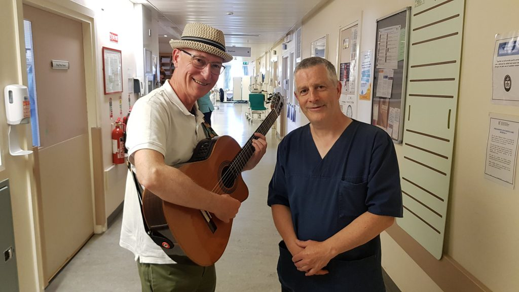 Musician Liam Merriman and Clinical Nurse Manager Adrian Crellin getting ready for a Healing Sounds on the Wards session at University Hospital Waterford. Photos: Maeve Butler