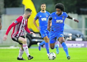 Waterford FC's Walter Figueira was a threat to Derry City all night long. Photos: Noel Browne