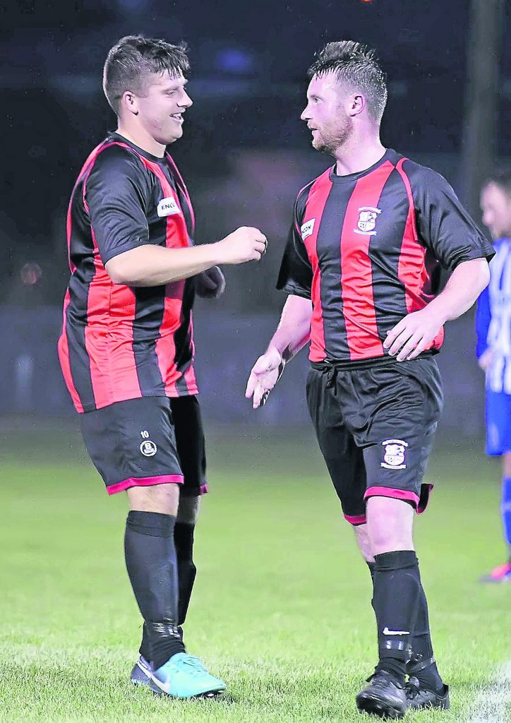 David Kennedy is congratulated by his Bohs team mate Shane Nolan after scoring a great second half free kick.