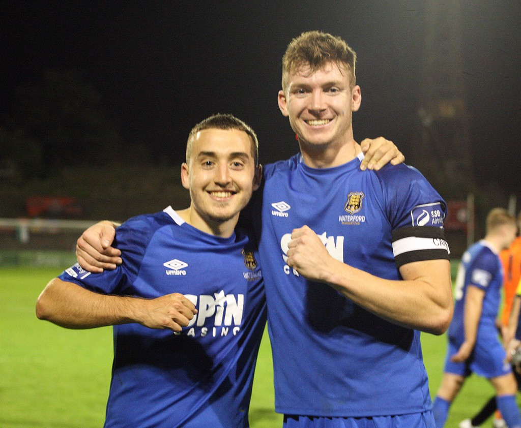 Tom Holland and Blues captain Rory Feely celebrate in front of the Blues fans at Dalymount Park last Friday night.