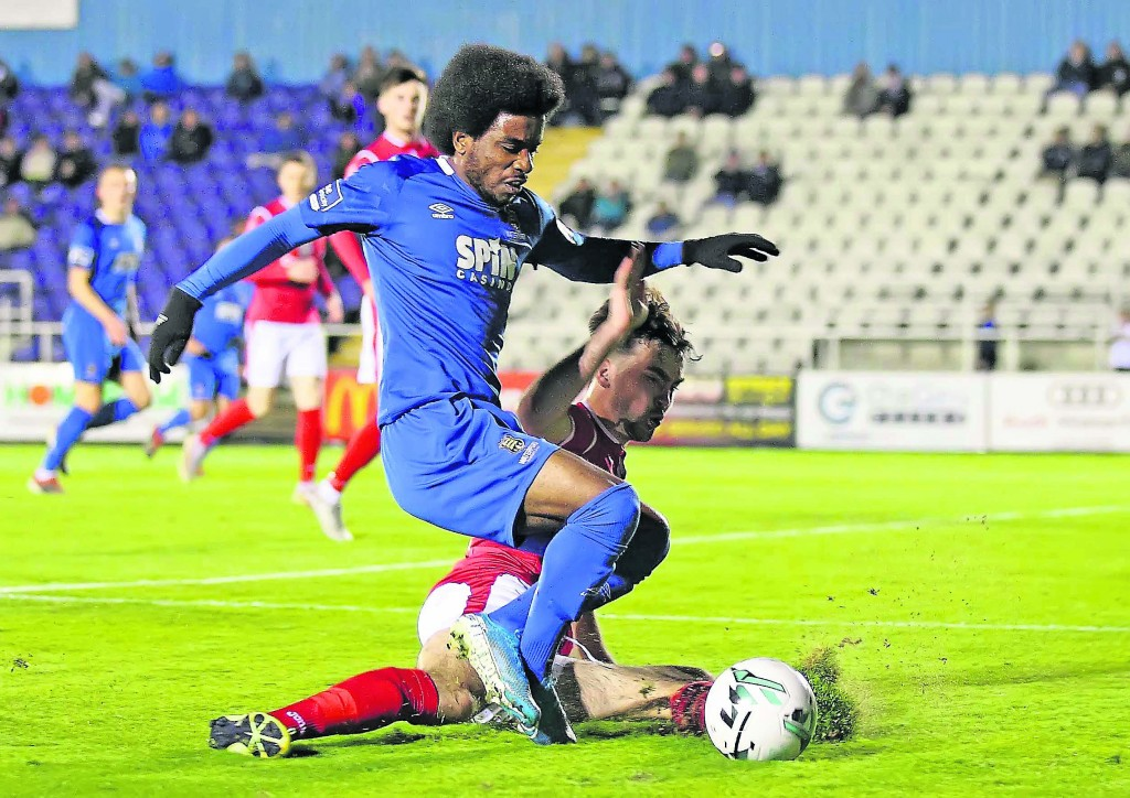 Waterford FC's Walter Figueira is fouled in the first half by Sligo Rovers John Mahon which resulted in a penalty kick, unfortunately Michael O'Connor's shot was saved.