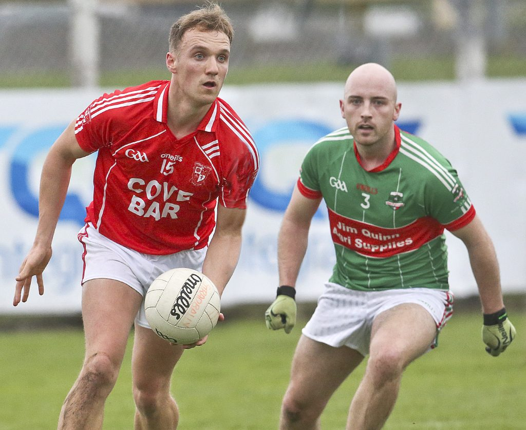 Stradbally's Eoin O'Brien in possession against Rathgormack's Conor Walsh during the semi-final of the county Senior Football Championship in Fraher Field.