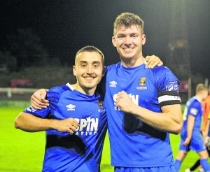 Tom Holland and Blues captain Rory Feely celebrate the Blues 2-1 win over Bohemians in Dalymount Park last month.
