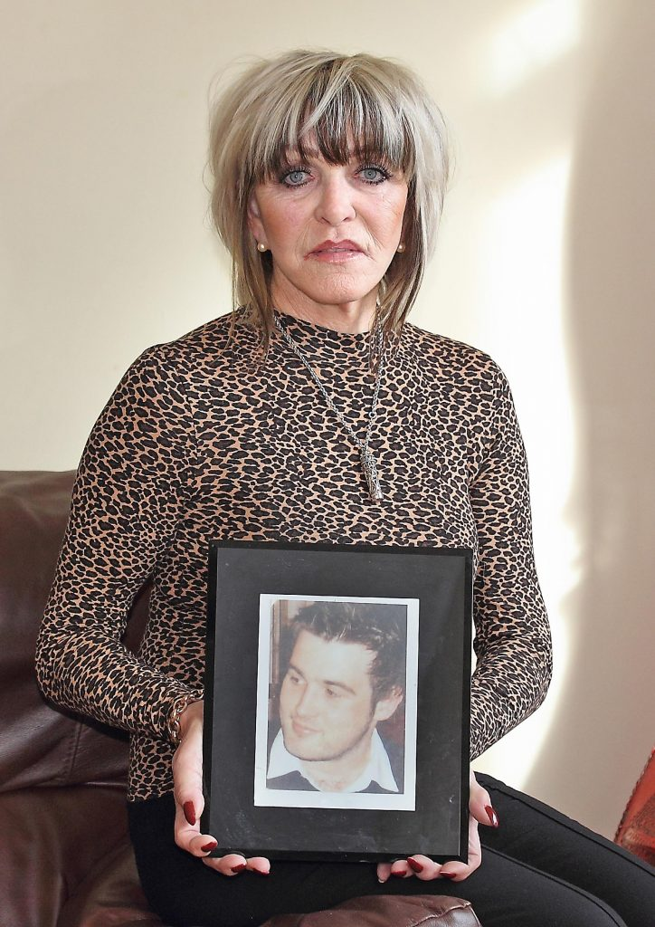 Campaigner Christina Donnelly pictured with a photo of her beloved son Brendan who was killed in a road crash caused by a drunk driver in October 2009. Photo: Noel Browne.