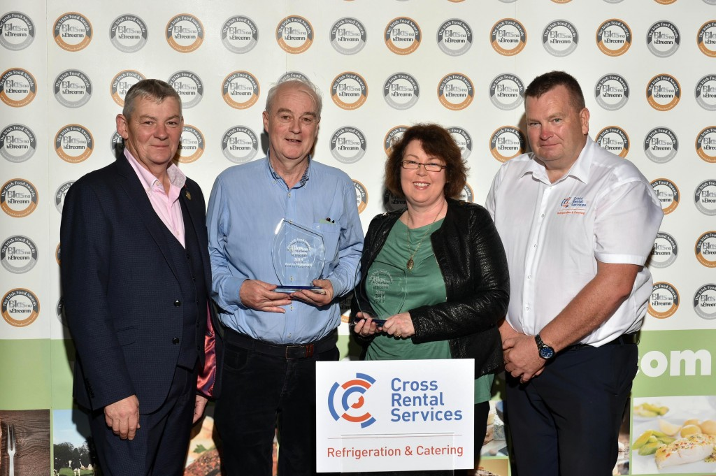 Billy and Mary Sharpe, from Irish Gourmet Butter, Waterford who won Gold for their Irish Gourmet Butter Lightly Salted Butter at Blas na hEireann, the Irish Food Awards, pictured with Artie Clifford, Chairman of Blas na hEireann and Shane Ryan, Cross Refrigeration and Catering.