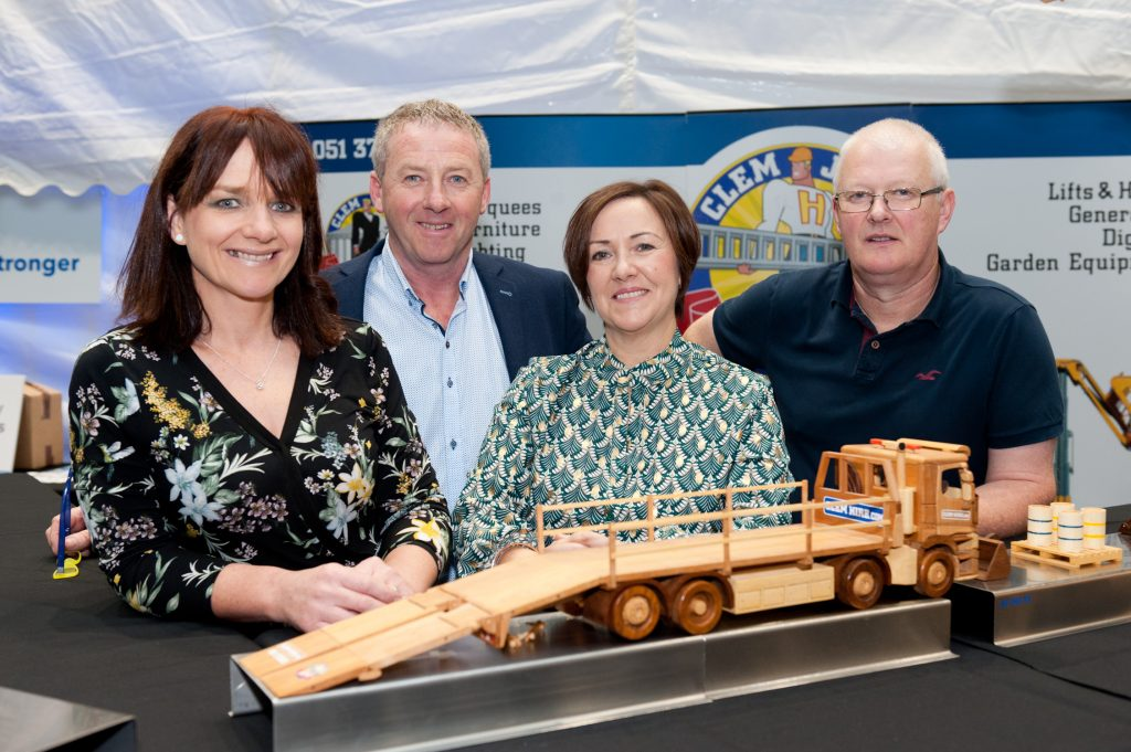 Pictured at the Toys4Engineers Technology and Innovation Expo at Waterford Institute of Technology were Carmel Jacob, Clem Jacob, Bronwyn Geary and John Murphy (creator of the wooden models), all from Clem Jacob Hire (sponsor). Photos: Aileen Drohan