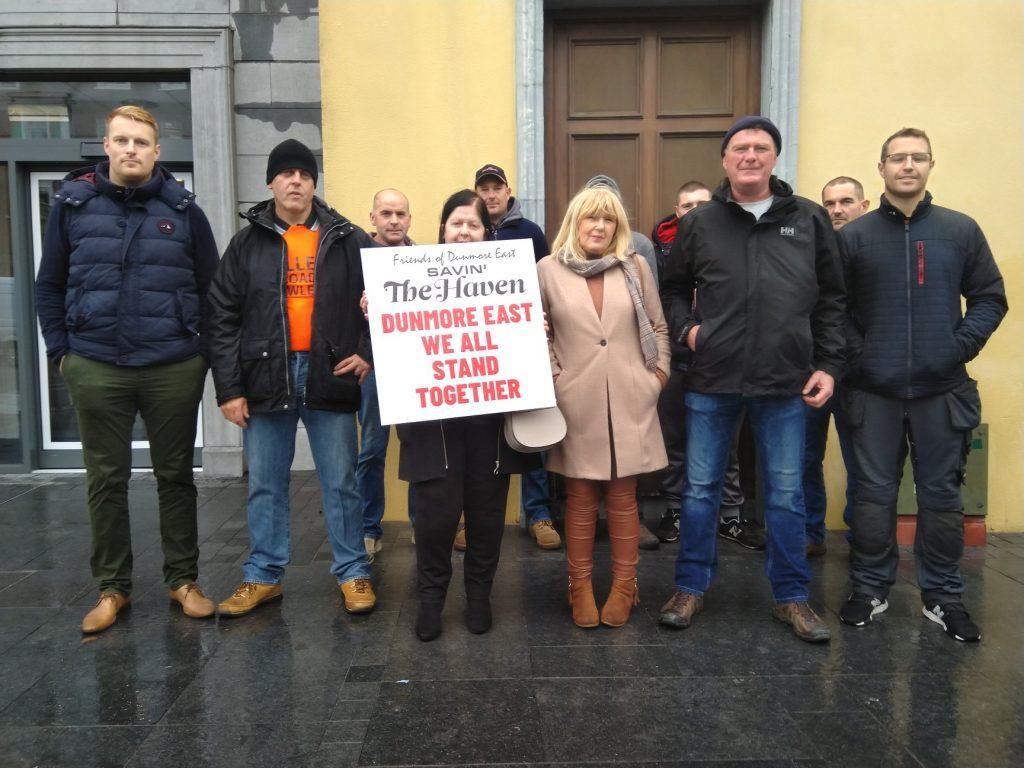 Members of the large group which gathered outside Thursday's Council meeting at City Hall to show support for The Haven Hotel, Dunmore East.