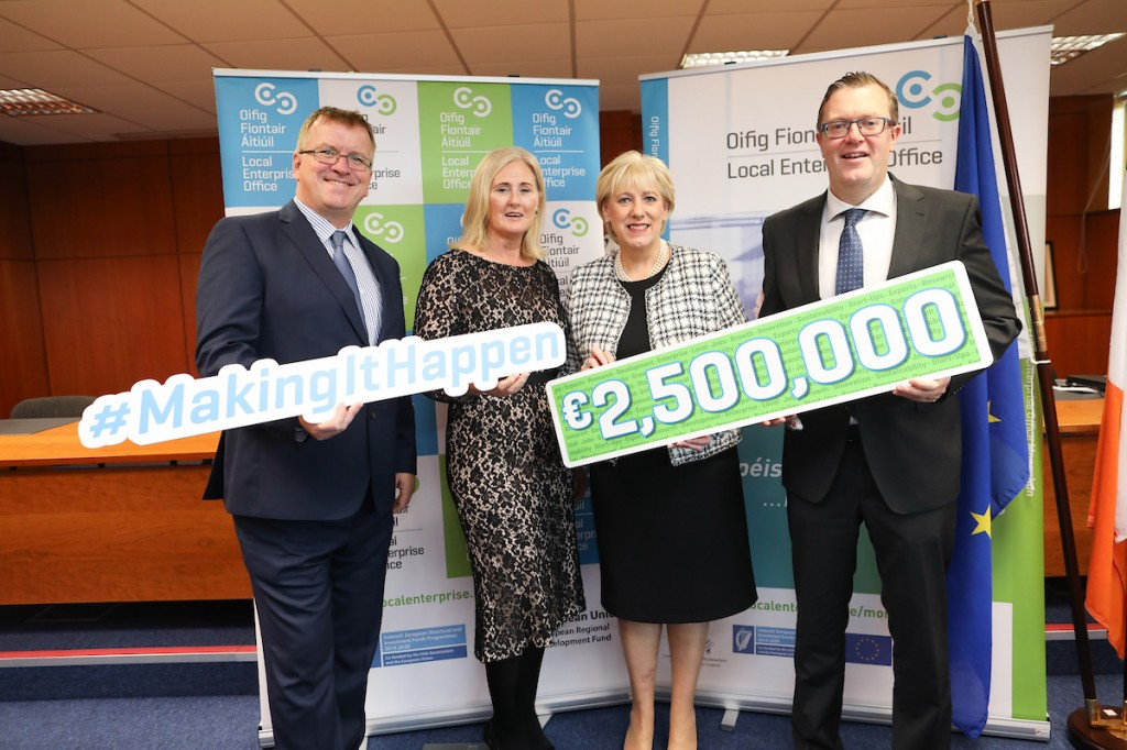 Minister Heather Humphreys announces the LEO Competitive Fund recipients accompanied by representatives of the Local Enterprise Network and Enterprise Ireland