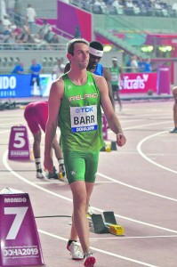 Thomas Barr in action at the World Championships in Doha. Picture by James Veale