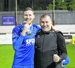 Kevin Lynch and Blues Boss Alan Reynolds after beating St. Pats