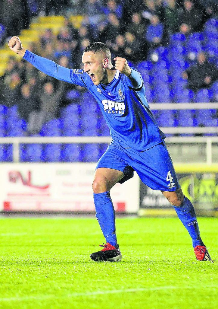 Waterford FC's Shane Duggan celebrates after opening the scoring against UCD.