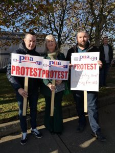 Pictured at Friday's protest are Michael Doyle, Metropolitan Mayor Cllr Breda Brennan and Cllr Conor McGuinness
