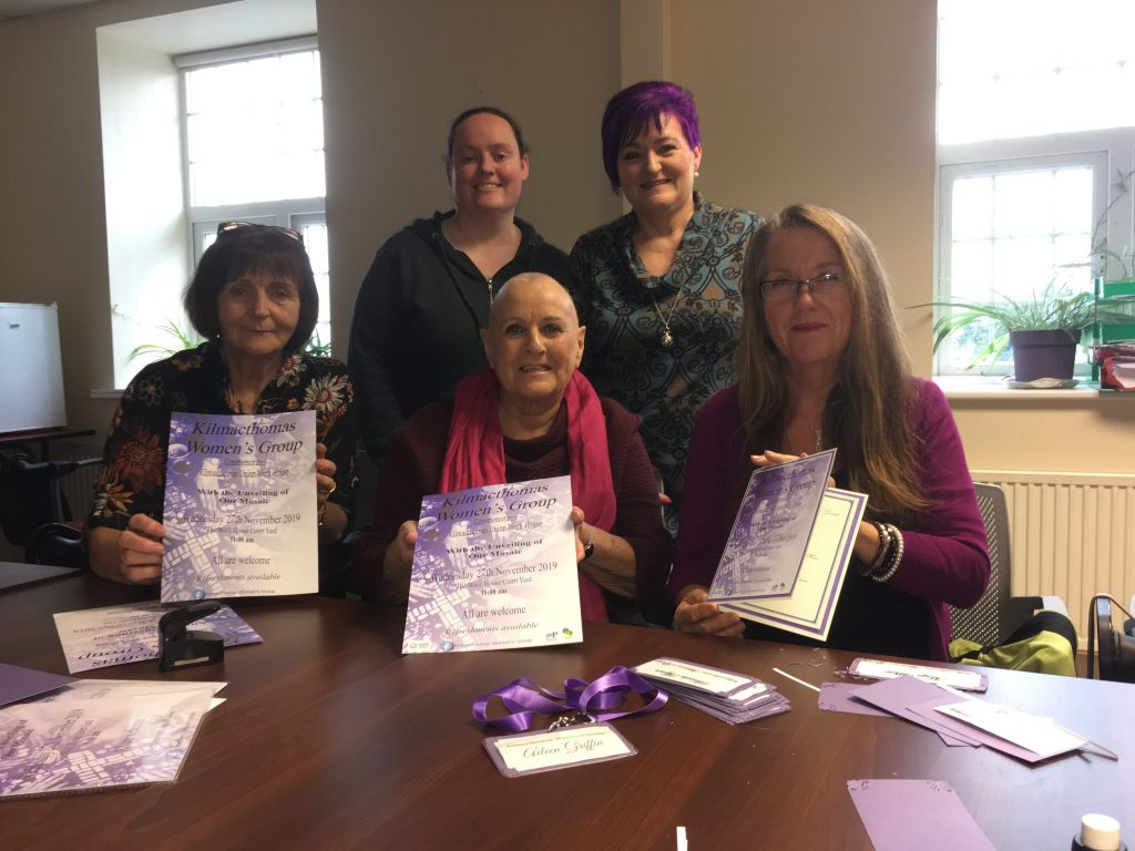 Colorful invitations have been created by the group in advance of the commemoration event on Wednesday November 27th. Back: Helena Coleman and Margaret White. Front: Anne Fitzgerald, Yvonne Murtagh and Aileen Griffin.