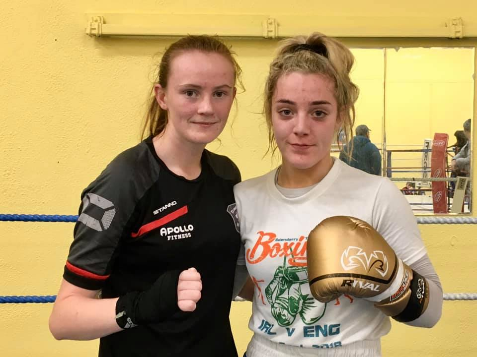 Zara Breslin and Ellie Mai after sparring in Clonmel ahead of the Senior Championships.
