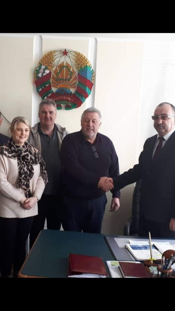Michael 'Noddy' Jacob pictured at a civic reception in Belarus last year in recognition of their efforts. Also included are Mick O'Hara and Clodagh Maher