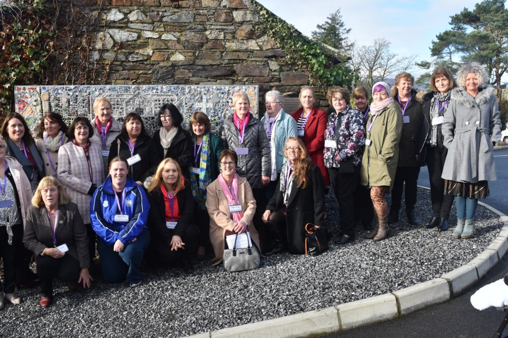 Members of Kilmacthomas Women's Group pictured in front of their mosaic. Included are Facilitator Karen Power and Miranda Corcoran of The Art Hand. Photos: Michael Faulkner.